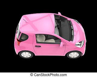 Warm pink compact urban car on black background
