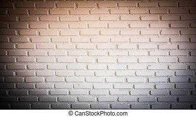 Warm red Spotlight on brick wall with dark corner
