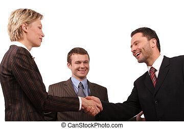warm shake hand - Group of 3 busisness people - man and...