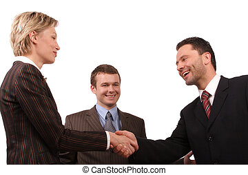 warm shake hand - Group of 3 busisness people - man and...