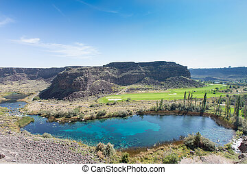 Warm springs and tranquil lake, Jerome, Idaho