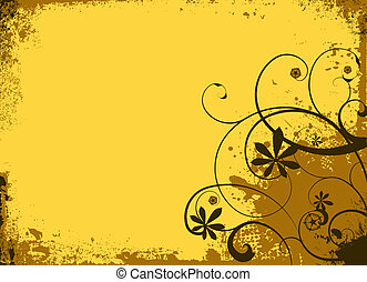 Yellow and brown warm summers grunge floral background