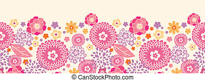 Warm summer plants horizontal seamless pattern background -...
