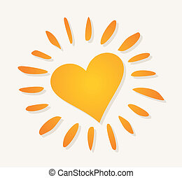 Warm sun - The orange sun in the form of heart. A vector...