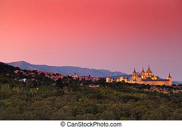 Warm Sunset in El Escorial Monastery, Madrid