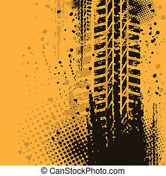 Warm tire track background - Orange grunge background with...