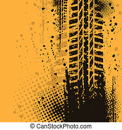 Orange grunge background with black tire track. eps10