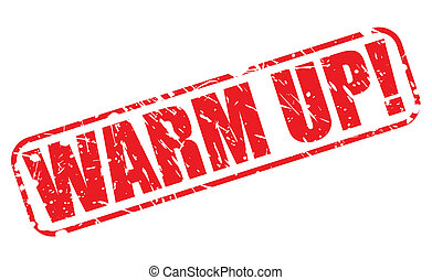 warm up, rood, postzegel, tekst