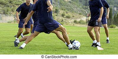 warm up, voor, een, voetbal training