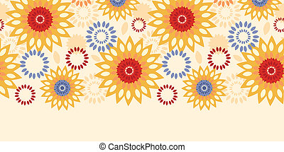 Warm vibrant floral abstract horizontal seamless pattern background
