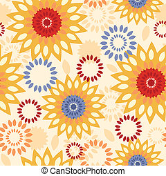 Warm vibrant floral abstract seamless pattern background