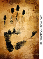 warm vintage background with hand print - great old grunge...