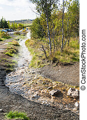 warm water flow in Haukadalur hot spring valley - travel to...