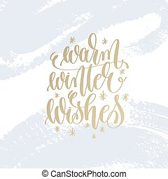 warm winter wishes hand lettering holiday poster