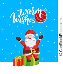 Warm Wishes Major Card with Santa and Gift Boxes