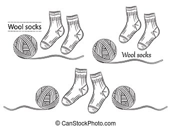 Warm wool socks with yarn ball outline icons set. Hand knitted. Winter textile socks pair. Handmade knitwear. Clothes from natural materials. Woolen thread. Vector
