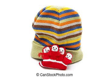 Warm woolen cap with hand shoes