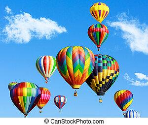 warme, ballons, kleurrijke, lucht