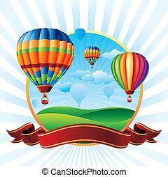 warme, ballons, lucht