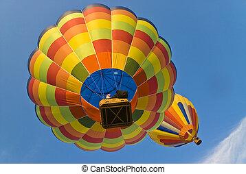 warme, ballons, onder, lucht