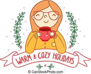 warme, en, cozy, feestdagen, kaart
