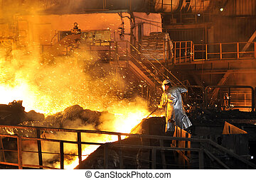 warme, gesmolten, staal, gieten, arbeider