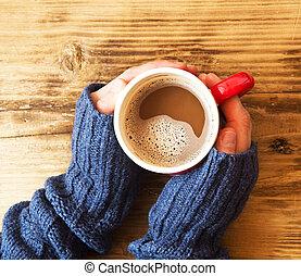 warme, handen, vasthouden, chocolade, kop