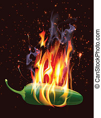 warme, jelapeno, peper, burning