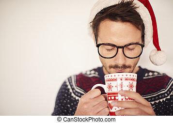 warme, kerstman, drinkt, chocolade, hoedje, man