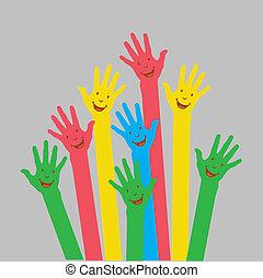 warme, kleurrijke, op, handen