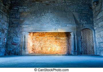 warme, licht, in, een, koude, middeleeuws, kasteel