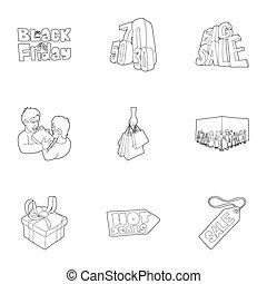 warme, prijs, iconen, set, schets, stijl