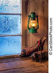 warme, schuilplaats, in, winter, ijzig, dag