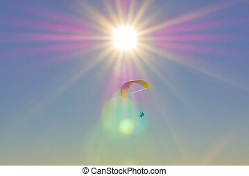 warme, tandem, achtergrond, paragliding