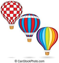 warme, vector, ballons, lucht