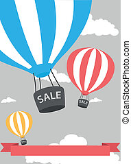 warme, verkoopaffiche, balloon, lucht