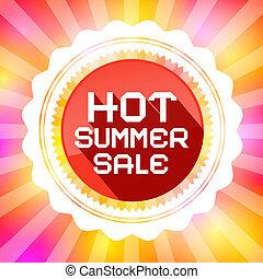 warme, zomer, verkoop, retro, vector, illustratie, op, kleurrijke, achtergrond