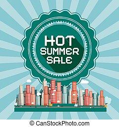 warme, zomer, verkoop, retro, vector, kaart, met, stad