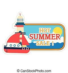 warme, zomer, verkoop, vuurtoren, scheeps , achtergrond, vector, beeld