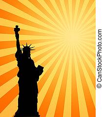 warme, zon, en, vrijheid