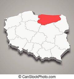 Warmia-Masuria region location within Poland 3d isometric map