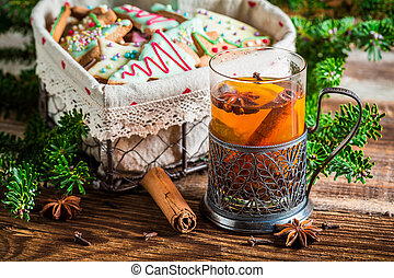 Warming aromatic tea in Christmas evening