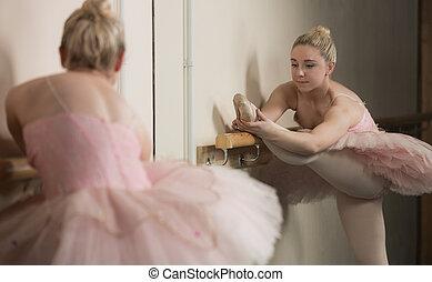 warming, bello, ballerina, barre, su