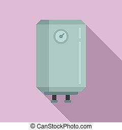 Warming boiler icon. Flat illustration of warming boiler vector icon for web design