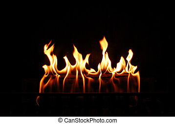 Flames from a fireplace