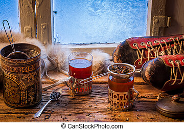 Warming tea in a winter day