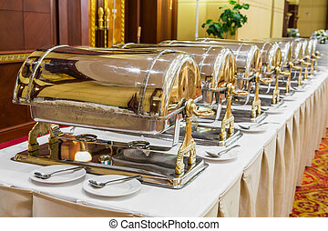 Close up luxury warming trays for buffet line