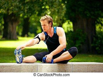 warming, uomo, su, esercizio, prima