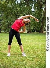 warmlaufen, übung, -, sport frau