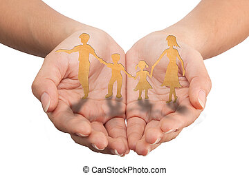 Warmth family concept, make for cut out of paper on wood ...